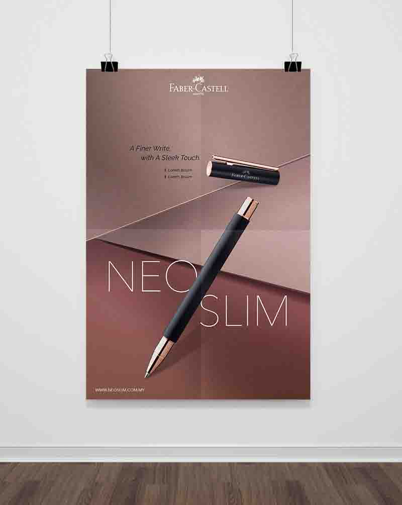 Faber-Castell poster showing slanting black gold Neo Slim Pen with brown background