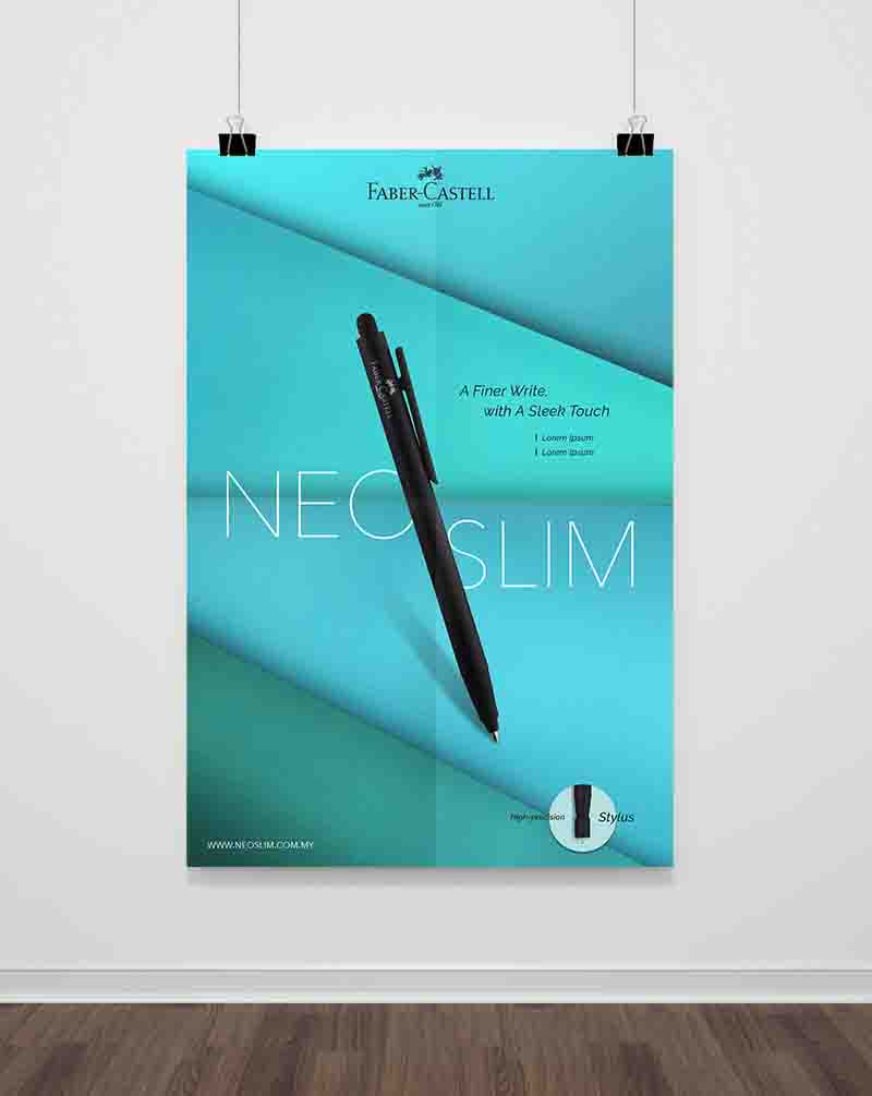 Faber-Castell poster showing slanting black Neo Slim Pen with turquoise background