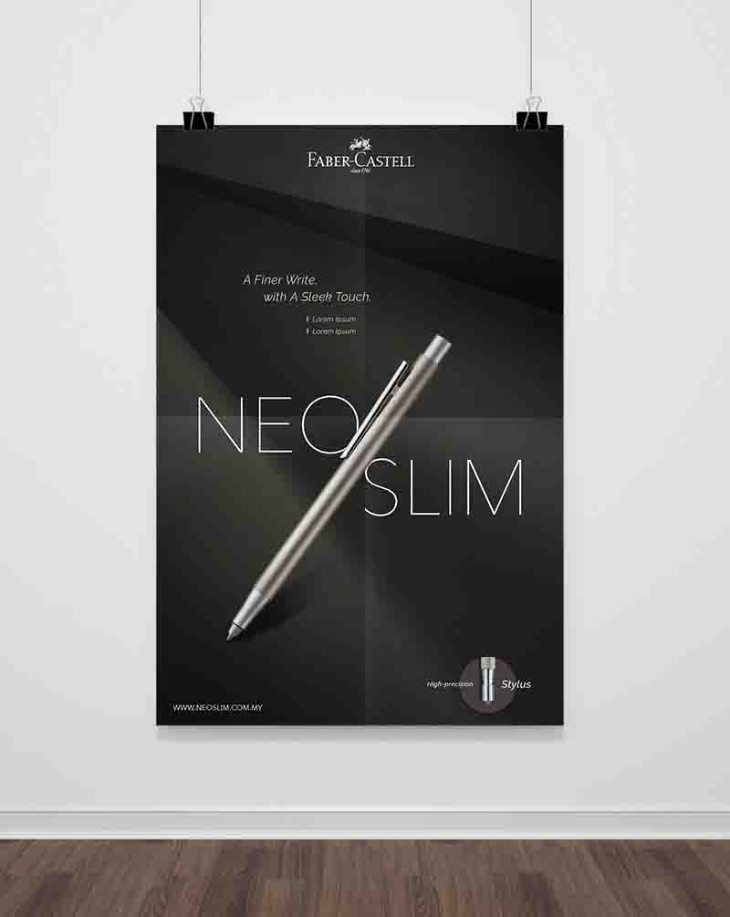 Faber-Castell poster showing slanting gray Neo Slim Pen with black background
