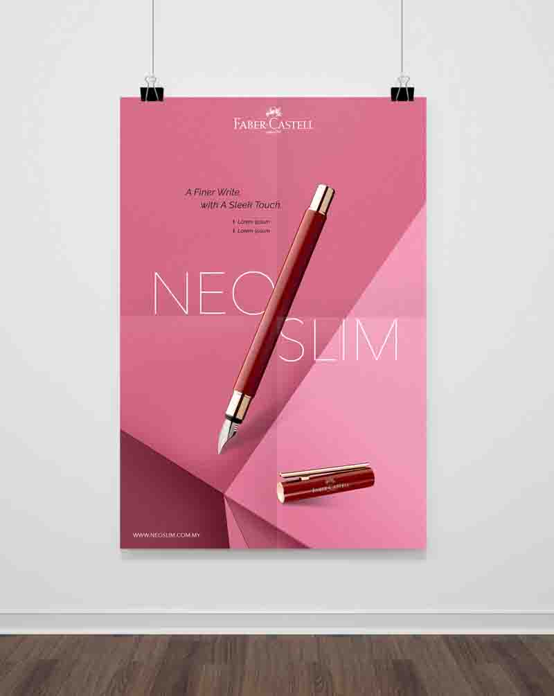 Faber-Castell poster showing slanting red Neo Slim Pen with pink background