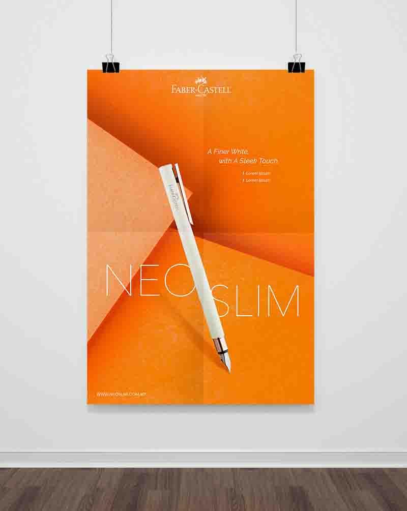 Faber-Castell poster showing slanting white Neo Slim Pen with orange background