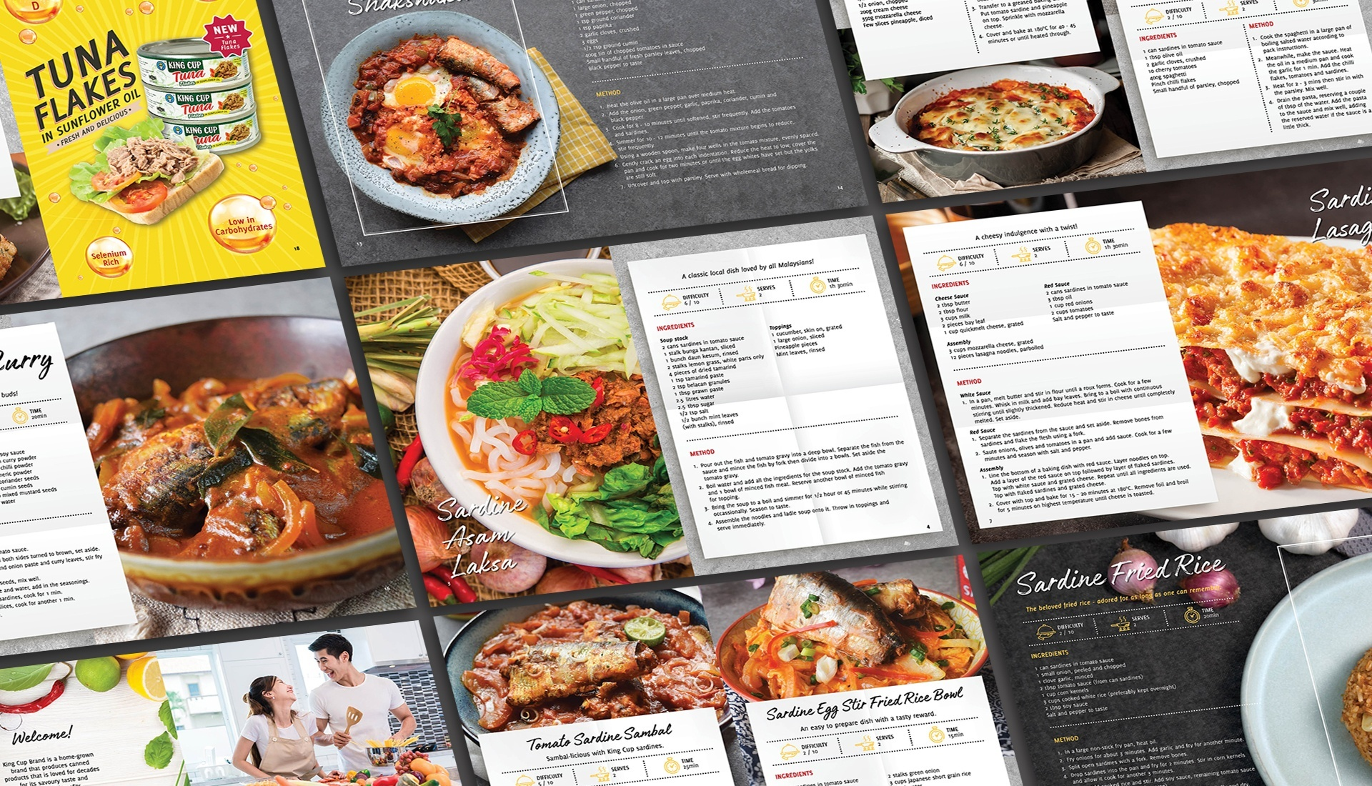 A variety of local recipes featuring King Cup products laid out