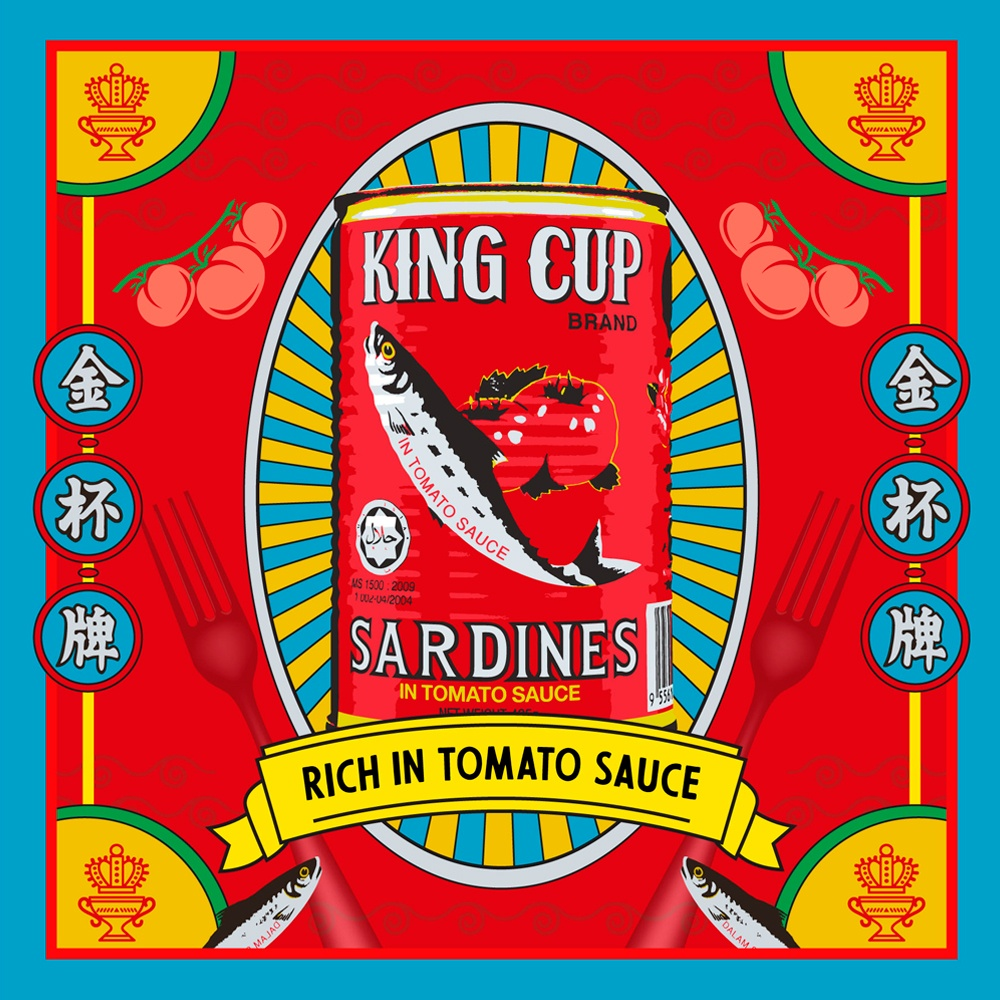 Image showing red King Cup Sardines can with 'rich in tomato sauce written on it and the background is also red with Chinese characters on it