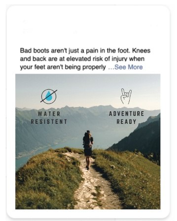 A man carrying a backpack is walking on a path on top of a hill with a grand view of mountains. Water Resistant & Adventure Ready are written on the image