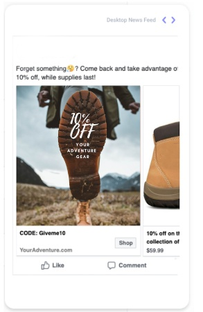 Instagram ad showing the sole of a boot with 10% off written on it where a man is wearing lifting his boot to show the sole