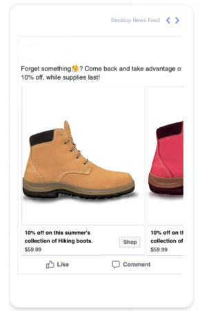 Instagram carousel ad showing khaki coloured and light-red coloured boots