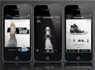 3 black Iphones are showing Converse's VR app on its screens